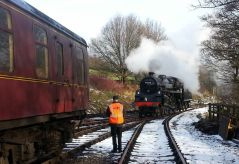 Collecting the day's passenger stock at Oxenhope - Steve Harris