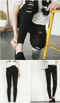 夏季破洞外穿弹力紧身高腰黑色九分薄款打底裤