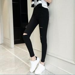 外穿春夏薄款铅笔裤黑色破洞打底裤