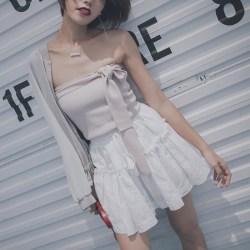 夏季青春纯白伞裙