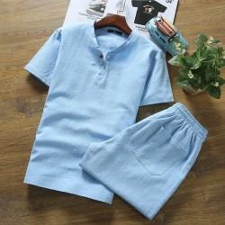 文艺男复古中国风亚麻短袖T恤套装