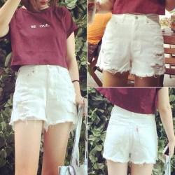 夏季新款白色高腰毛边破洞牛仔短裤