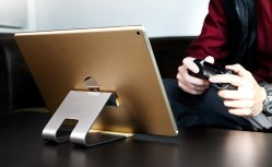 Rock Aluminum Metal + Wood Desktop Stand Holder Cradle for iPad