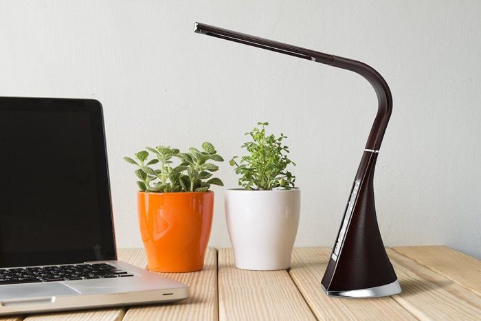 Avvio Level Dimmable Cool White LED Desk Lamp with Touch, Date, Temperature, & Alarm