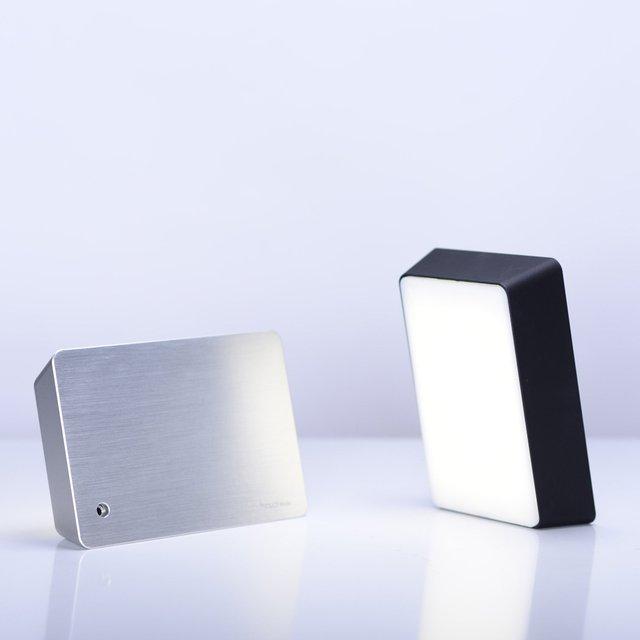 Silver Metal Brick Lamp