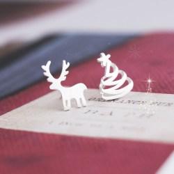 925纯银可爱拉丝圣诞树麋鹿耳钉