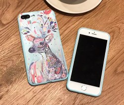 中国风浮雕麋鹿iPhone硅胶手机壳