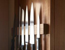 M.O.C. Woodworks Cherry Wood Magnetic Knife Holder