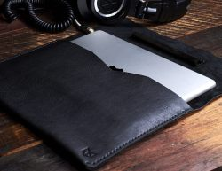 Leather iPad Pro Sleeve with suede Apple Pencil pocket by Capra Leather