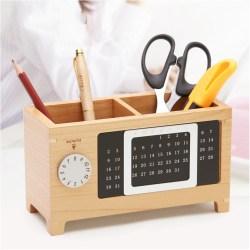 创意时尚万年历木质笔筒