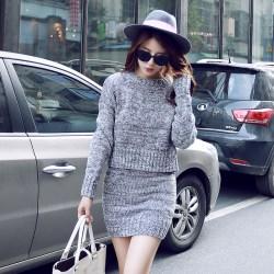 韩版包臀针织衫毛衣套装