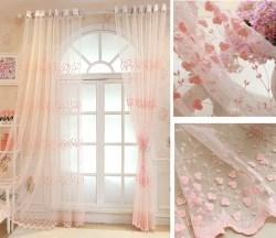 田园蕾丝碎花刺绣窗帘