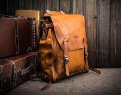 时尚复古真皮双肩背包休闲旅行包