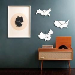 北欧简约现代客厅个性创意世界地图挂钟