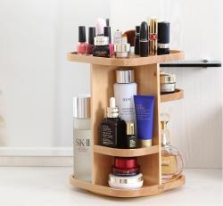初心 木制360度旋转化妆品收纳架,原生态桌面收纳盒