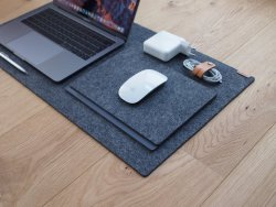 WorkPerch Dark Grey Wool Felt Desk Mat For Mac Pro