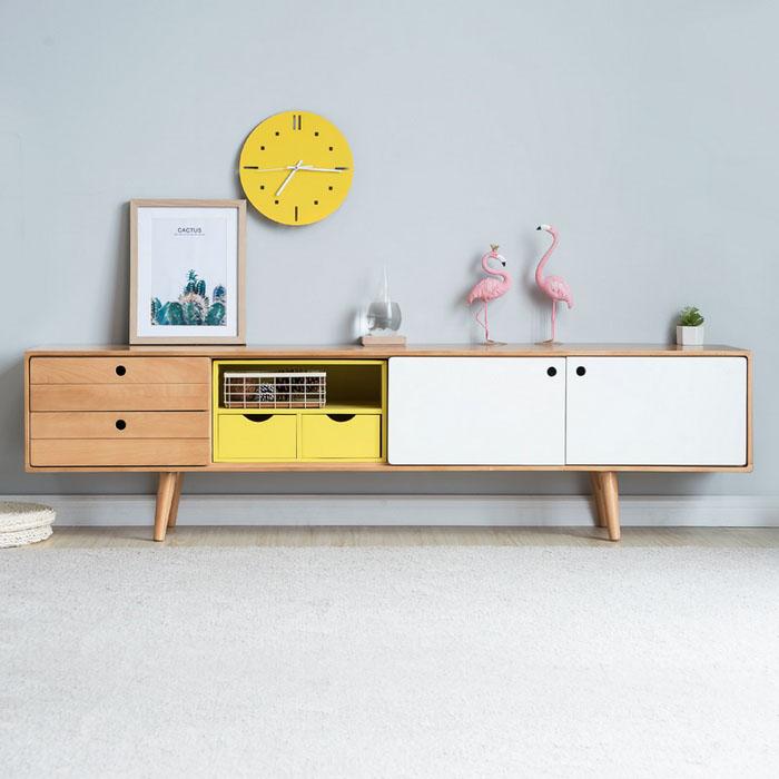 维莎 北欧全实木 C0135 电视柜,现代简约圆角打磨