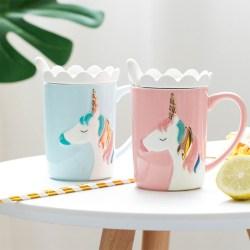 Yomerto悠米兔 独角兽陶瓷马克杯带盖勺