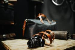 Vegetable tanned leather camera strap by Kruk Garage