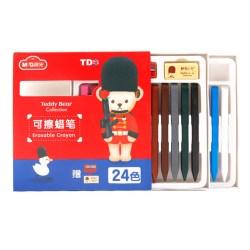 晨光(M&G) 泰迪系列 24 色可擦蜡笔,儿童绘画彩棒 24支/盒 QGMY4206