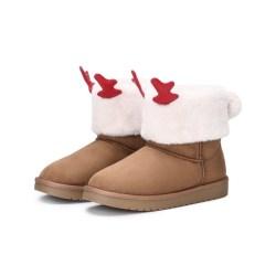 Balabala巴拉巴拉儿童雪地靴,女童中筒靴,圣诞结卡通造型