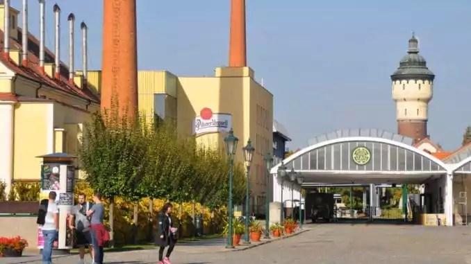 Blick auf die Brauerei von Pilsner Urquell in der Stadt Pilsen in Tschechien