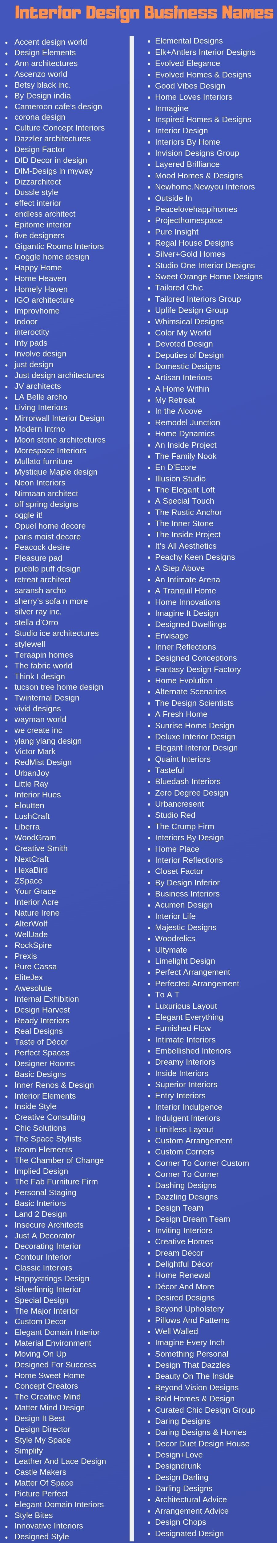 370 Interior Design Business Names Ideas And Suggestions