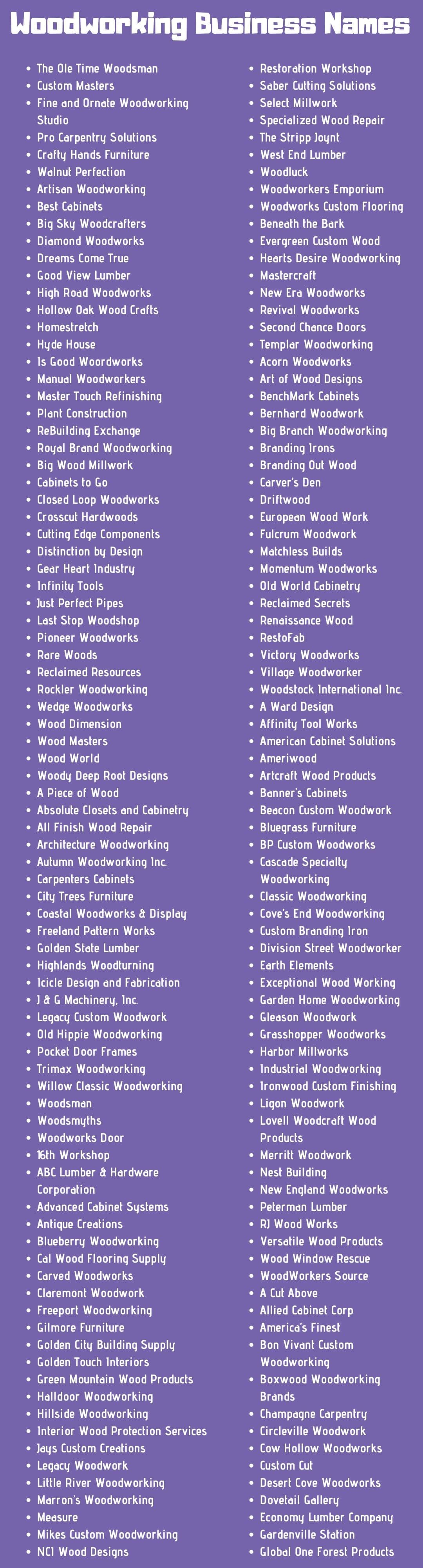Woodworking Business Names 400 Names For Woodworking Business