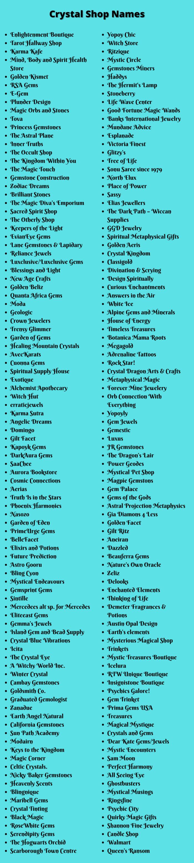 Crystal Shop Names