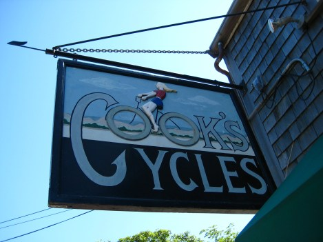 One of the many bike rental shops in Nantucket Town