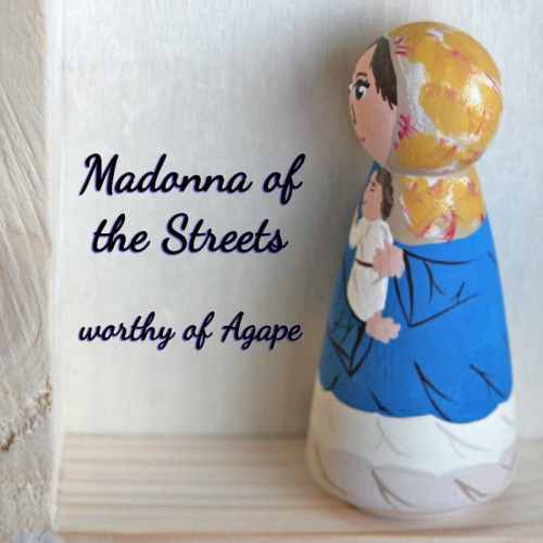 Madonna of the Streets peg doll side angle
