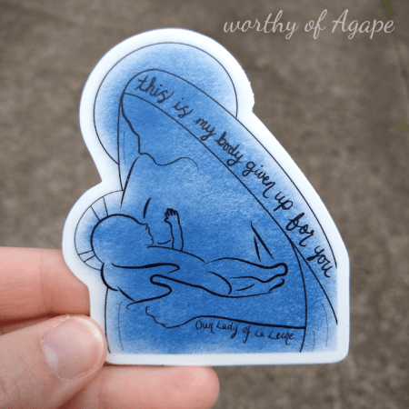 Our Lady of La Leche blue sticker