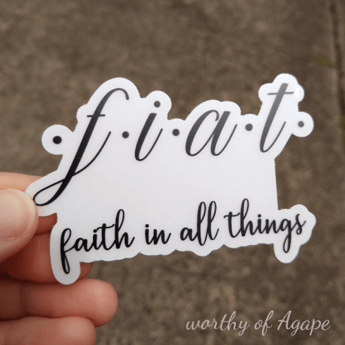 fiat faith in all things clear sticker