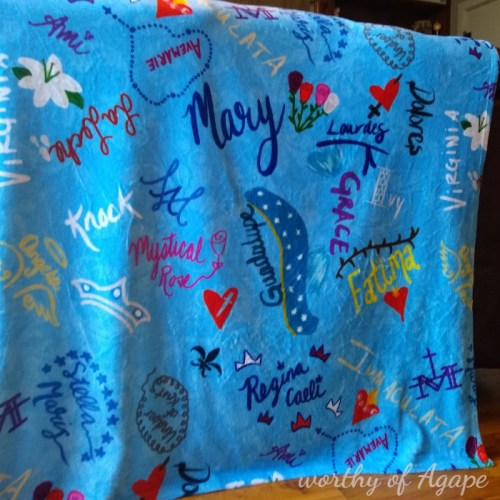 Names of Our Lady blanket hanging