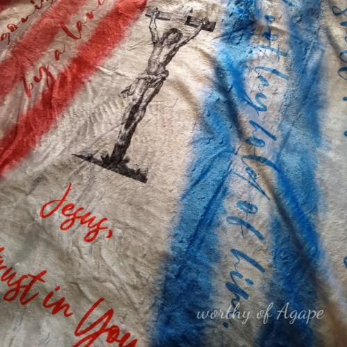 Divine Mercy blanket blue rays close