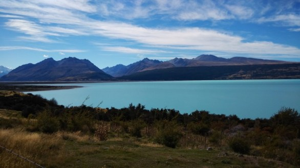Peaceful waters of Lake Pukaki, which we drove by on the day we went to Mount Cook.