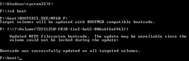 BOOTSECT.EXE/NT60 F: