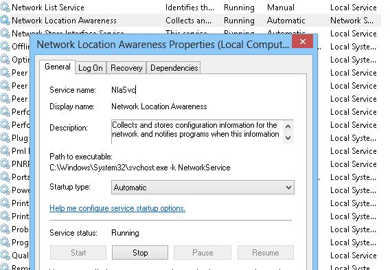 NlaSvc: Network Location Awareness service