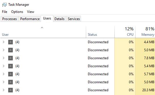 RDS - phiên bị ngắt kết nối với (4) thay vì tên người dùng