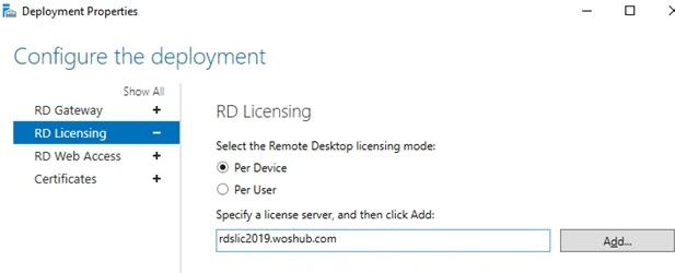 RDS - đặt máy chủ cấp phép RD và chế độ CAL