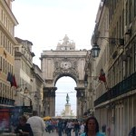 Main square in Lisbon, heading out to the sea in the distance