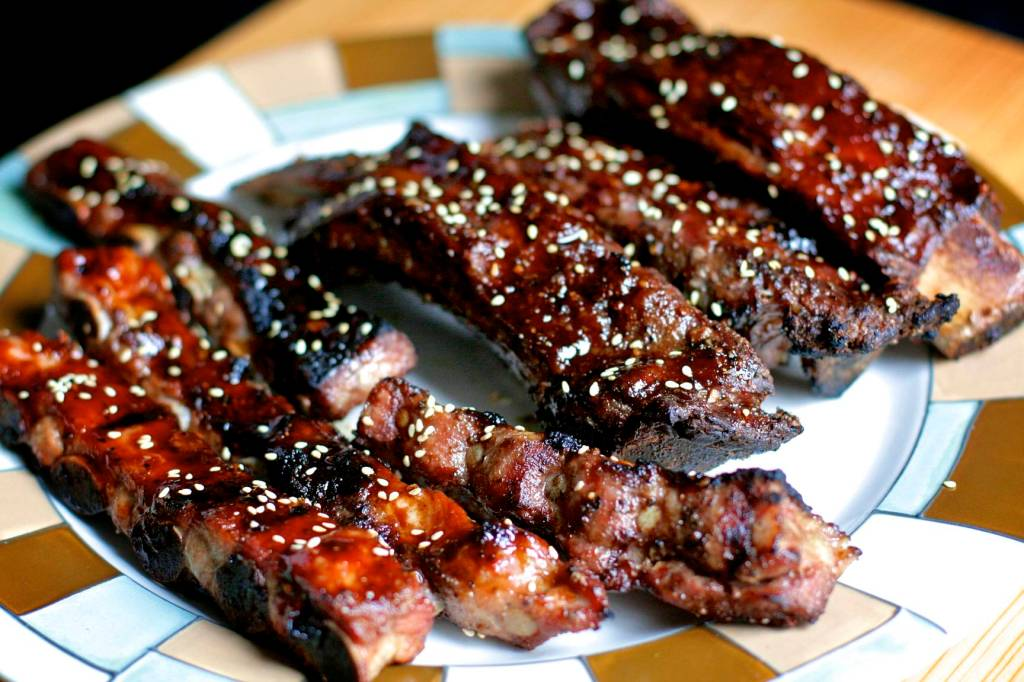 BBQ'd pork spare ribs and beef ribs