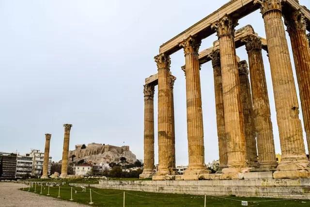 Athens in winter Temple of Zeus