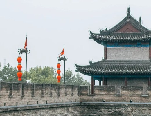 Decorations on Xian city wall during Golden Week in China