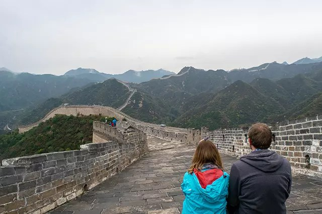 Great Wall of China with a couple looking out over it