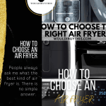 How to choose the right air fryer image with black side bar and text
