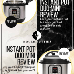 Instant pot duo mini review with two images on white black and gold background