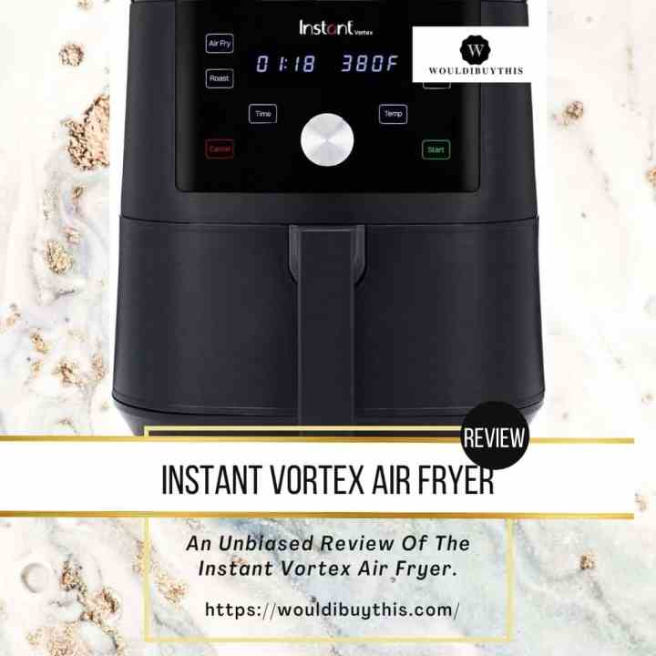 Instant Vortex Air Fryer Over a gold and white marbled background.