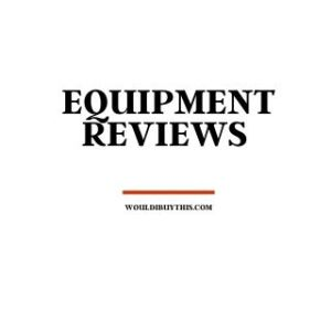 black text that reads equipment reviews against a white background