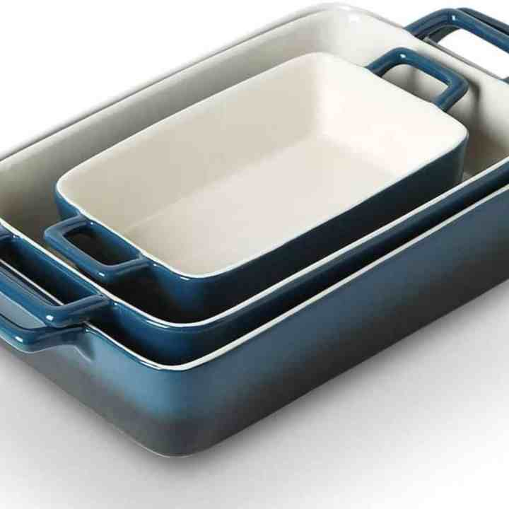 a set of 3 blue casserole dishes